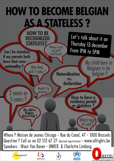Invitation - 13 december : How to become Belgian as a stateless ?